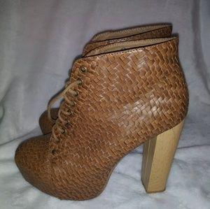 Shiekh Sz 10 Cognac Basket-Weave Lace Up Booties 5